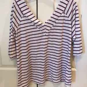 City Chic size 16 V-neck purple/white striped top